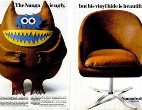 "Naugahyde - ""The Nauga Is Ugly""<br />photo credit: vintage-ads.livejournal.com"