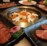 Yakiniku with a large table of friends in Tokyo.