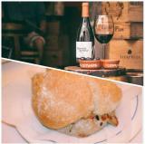 "A glass of wine at the Garrafeira Alfaia in Lisbon and a ""prego"" (filet steak sandwich) at Gambrinus in the same city.<br />photo credit: garrafeiraalfaia.com / Trip Advisor"